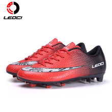 LEOCI TF Men Soccer Shoes Football Boots Adults Boy Kid Trainers Sports Sneakers Shoes Red Blue Yellow Soccer Cleats Shoes