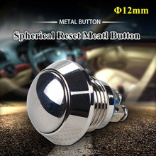 Car Computer Appliances DIY 12mm Spherical Reset Metal Button Switch Waterproof IP65  A Normally Open