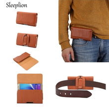 "Sleeplion Universal Many Models Belt Clip Holster Leather Mobile Phone Case Pouch cover For 4-5.7"" inch Smartphone bags"