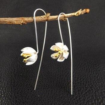 1pair 925 Silver Luxury Ear Cuff Golden Bud Earrings For Women Flower Drop Earrings Women Hook Earring Jewelry Wholesale Gift