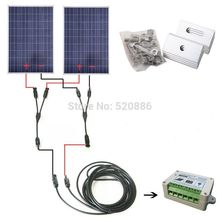 200w off grid solar system with 2 piece 100w solar panel, solar cell panel & mounting, charge 12v/24v battery of RV boat, car(China)