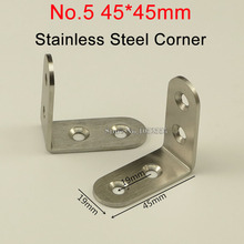 HOT 500PCS Stainless Steel Corner Brackets 45*45mm Right Angle Brackets Furniture Frame Board Support Joint Fastening Connector(China)