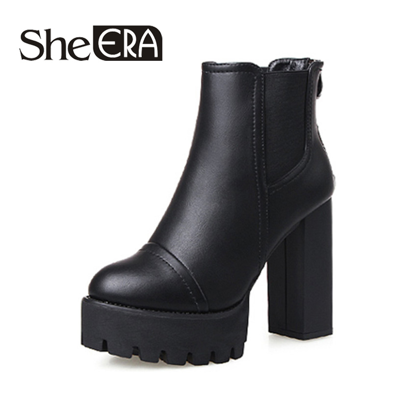 2016 Sexy Ultra Women Boots High Heel Boots Winter Boots Martin Thick Heel Platform Women Shoes Chelsea Ankle Boots Freeshipping<br>