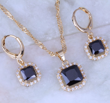 Top Quality Black Imitation Onyx Cubic Zirconia Necklace/Pendant/Hoop Earrings Yellow Gold Color Square Jewelry Sets X0166