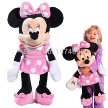 Minnie Toys Large Big 65cm 26'' Minnie Plush Toy Pink Purple Red Dress Mickey Girlfriend Pelucia Kids Dolls Gifts(China)