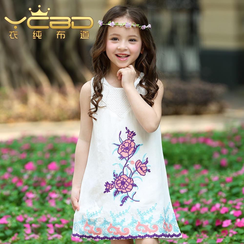 Kids Girls 100% Cotton Floral Embroidered Sleeveless Dress 3-12 years old Young Girl dress<br><br>Aliexpress