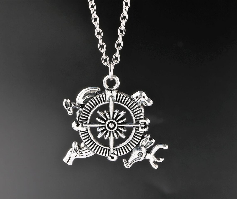 Ice And Fire Necklace Game Of Thrones Necklace Dragon Animal Compass Pendant Necklace Antique Silver Charms New(China (Mainland))