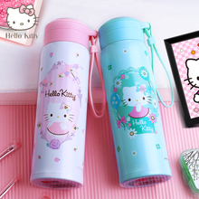 Hello Kitty KT-3748 Stainless Steel Thermal Feeding Cup Vacuum Flask with Rope Girls Insulated Drinking Cup Travel Kettle 500ml