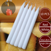 Wholesale 10pcs Red/White Lighting Candles Smoke-free Home Romantic Long Pole Candles Chess Smoking Tasteless Daily Candle