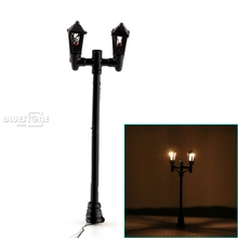 20pc 1:100 HO Scale Double Heads Black Lamppost Model Garden Street Light Layout(China)