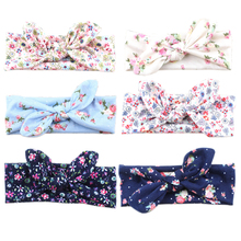 Fashion Lovely Flower Turban Rabbit Ear Headband BowKnot Hair band Head Wrap 2017 Hot Styles(China)