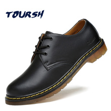TOURSH Luxury Genuine Leather Men Shoes Brogue Lace Up Platform Fashion Man Flats Casual Male Shoes Black Brown Red Plus Size 44(China)