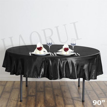 10pcs Customized 90'' Black Round Dining Table Cloths Satin Tablecloths for Wedding Party Decoration Restaurant Free Shipping