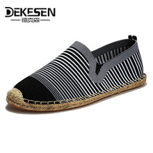 DEKESEN 2018 Fashion Hemp Soft Mens Casual Shoes Slip on Loafers Shoes for men Breathable Male Espadrille Fisherman Shoes Flats(China)