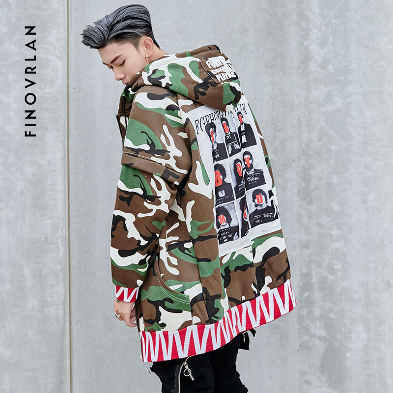 Autumn Winter Splicing Camouflage Windbreaker Trench Jackets Men hip hop printing Sweatshirts Streetwear Long Outwear Jacket