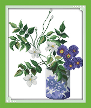 Joy sunday floral style Purple flower vase free gift cross stitch ornament patterns hand carft for printable fabric