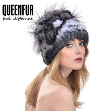 QUEENFUR Knit Genuine Rex Rabbit Fur Hat With Silver Fox Fur Flower Beanie Good Quality Super Elastic Real Fur Cap With Lining