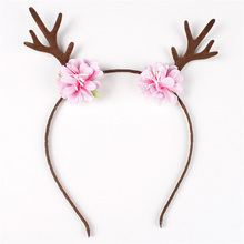 2017New Girls Personality Cute Deer Horn Ear Flower Hairbands Girls Adorable Antler Floral Birthday Headband For Holloween Party
