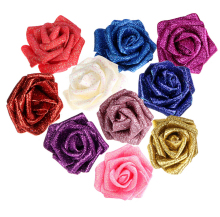 7pcs a set Glitter Flowers Foam Rose Heads Sparkling Flowers For Wedding Favor Decor