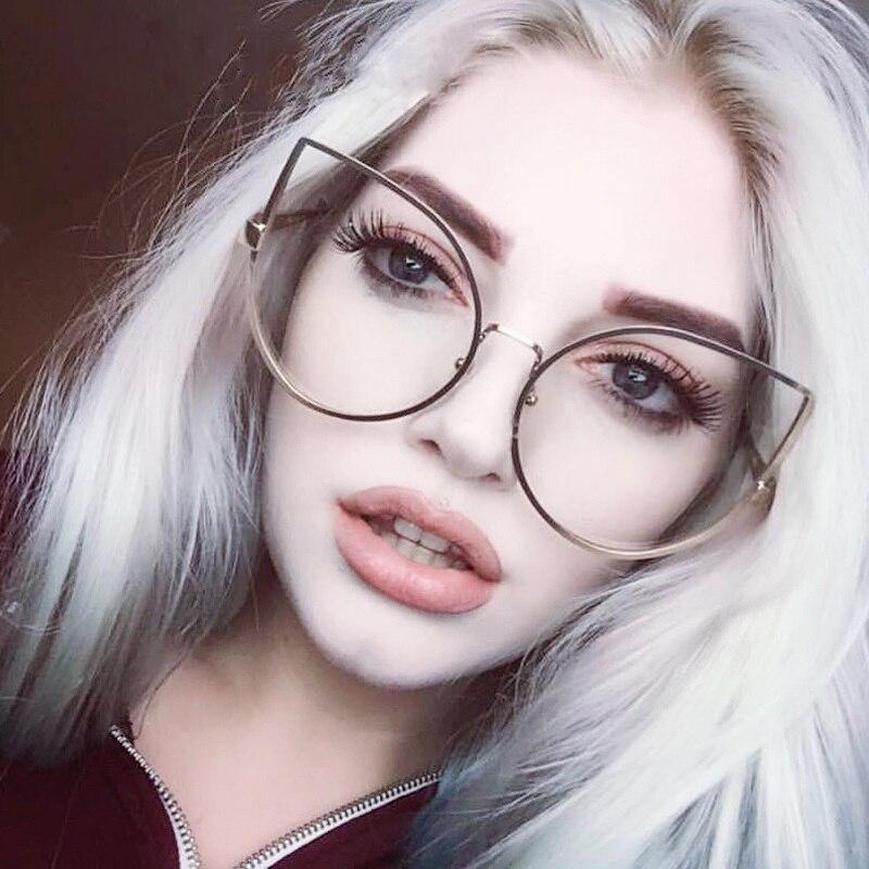 80659d81c81 2019 Luxury Female Degree Frame Cat Eye Gold Glasses Optical Frame ...
