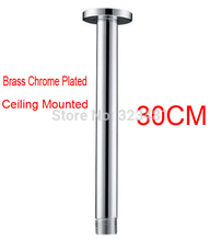 30cm Brass Shower Arm Ceiling Mounted Round Chrome Plated Shower Head Arm Rod In Bathroom Accessoriess free shipping