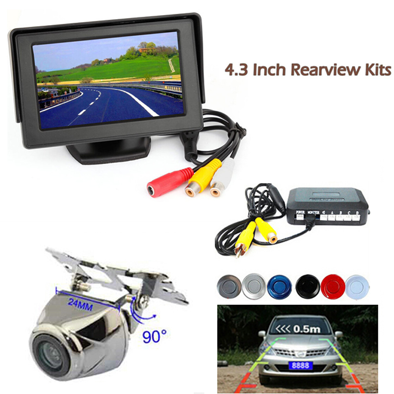 4.3''Car Parking Sensor Reverse Backup Assistance Car HD Visual Reversing Radar image System Auto Rearview Camera Mirror Monitor