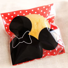 200pcs Food Packaging Bags Cookie Mickey Print Self-adhesive Plastic Candy Cake Cookies Bags Christmas gifts Bags 10*10cm