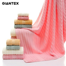 GIANTEX 3-Pieces Wave Pattern Bamboo Fiber Towel Set Bathroom Super Absorbent Bath Towel Face Towel Hand Towel U1138(China)