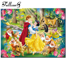 FULLCANG mosaic needlework 5d diamond painting cross stitch full square diamond embroidery princess seven dwarfs F604(China)