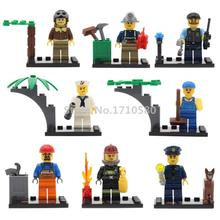 Single Sale City Series Police Sailor Miner Pilot Firefighters Movie Different Occupations Figures Building Blocks Model Toys