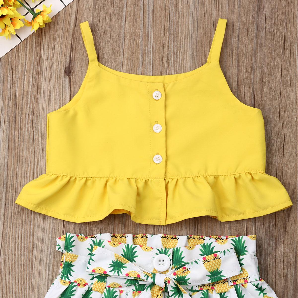 KiKibaby Baby Girls 2pcs Pineapple Short Sleeve Ruffle Tie Knot Crop Top+Skirt Sets