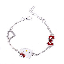 Trend Sweet Kawaii Cute Bracelet Female Korean Fashion Hello Kitty Bracelet Women Fashion Jewelry Best Gift For Daughter(China)