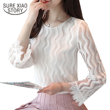 Buy 2018 new spring women tops long sleeved blouses lace solid office lady style slim hollow shirts o-neck women clothing d358 30 for $11.32 in AliExpress store
