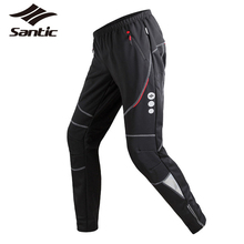 Santic Winter Cycling Pants Men's Thermal Fleece Wind Pants Windproof Outdoor Sports Reflective Bike Pants Leisure Running Pants
