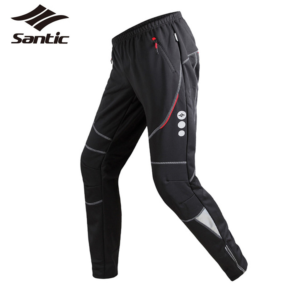 Santic Winter Cycling Pants Men's Thermal Fleece Wind Pants Windproof Outdoor Sports Reflective Bike Pants Leisure Running Pants(China)