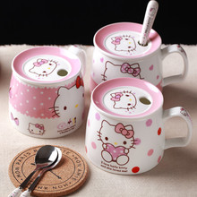 Hello Kitty Coffee Milk Mugs Cup with Lid Spoon Cute Cartoon Mug Morning Cups Ceramic Home Breakfast Tea Cup Christmas Gifts