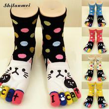 Autumn and Winter Women's Girls Warm Soft Candy Color cartoon Cat Five Finger Toe Socks Women Cotton Socks Free Shipping