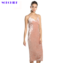 SORCHIDF Women's Sexy Dress Velvet Christmas Sleeveless Clothes Vintage Party New Trendy Club Slim Knee Length Dresses For Women