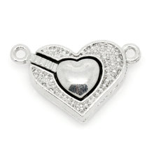 5PCs Magnetic Clasps Jewelry Findings Love Heart Silver Tone 25x16mm Free Shipping(China)