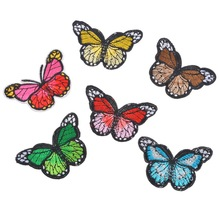 Hoomall 6PCs Fixed Mix Butterfly Patches Clothing Decoration Iron On Patches Applique Embroidered Sticker Jean Febric Badges DIY(China)