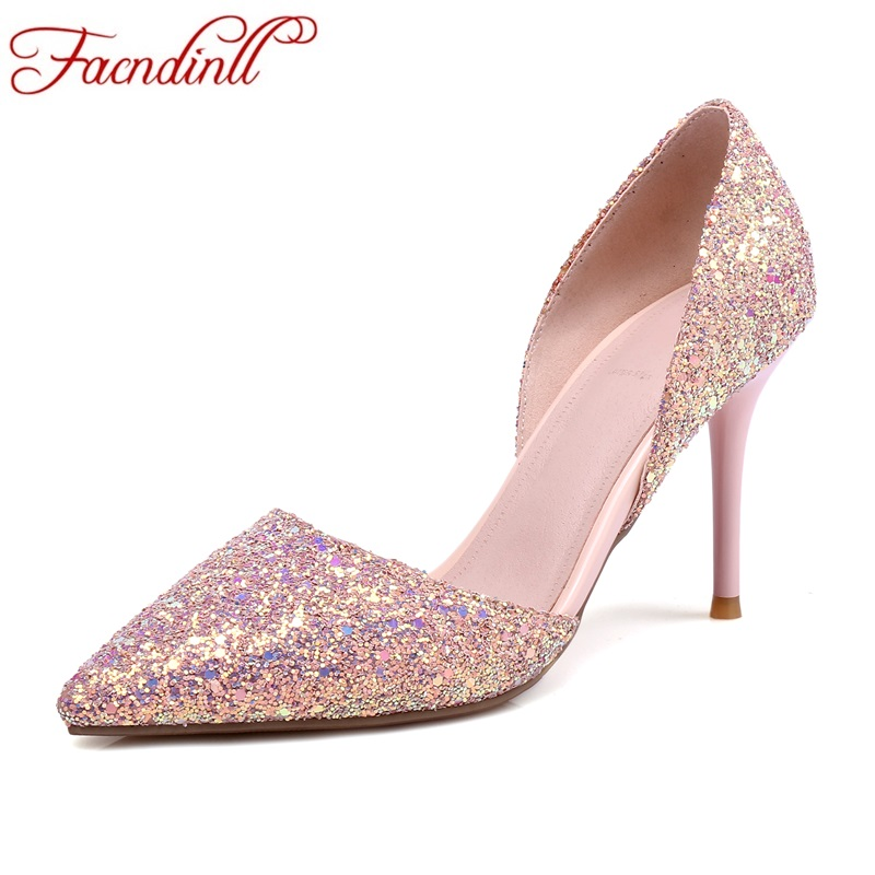 FACNDINLL women pumps new fashion high thin heels pointed toe shoes woman pink dress party wedding shoes pumps big size 33-43<br>