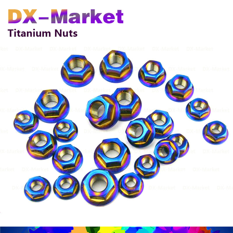 m12 *1.25p , 4pcs /set , AB color , Fine thread Titanium flange waterproof nut Model Tuning Part , Lighter and stronger fastener<br>