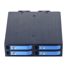 "SATA Hot Swap Aluminum Mobile Rack for Four 2.5"" SATA SSD/HDD with 40mm Cool fan Support 7mm / 9.5mm / 15mm 2.5 Inches Drives"