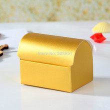 12 x Gold Paper Gift Candy Box Wedding Favor Treasure Chest Favor Boxes,Candy Box, Gift Box Event Party Supplies