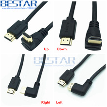 4K*2K 60HZ HDMI 2.0 A Male to HDMI v2.0 Down & Up & Left & Right Angled 90 degree Male HD extension Cable HDMI 2.0v angle cable(China)