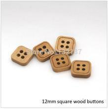 Wholesale 12mm fancy 4-hole square wood buttons light brown colors free shipping 2015120905