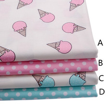 160CMx50CM ice cream pink blue nursery cotton fabric baby bedding linens cotton patchwork fabric tecidos quilting sewing tissue