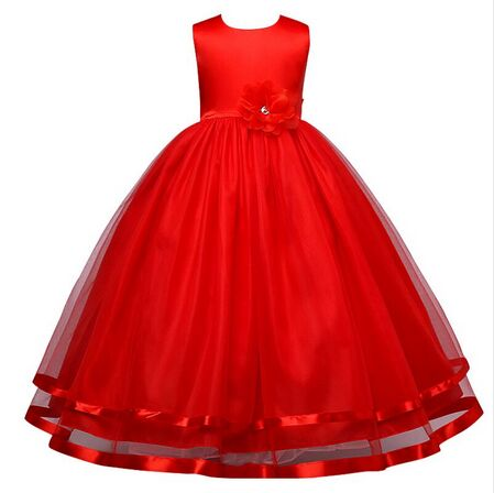 2017 New Christmas Baby Girls Party Dress Evening Wear Long Tail Girls Clothes Elegant Flower Girl Dress Kids Baby Dresses 3-10Y<br><br>Aliexpress