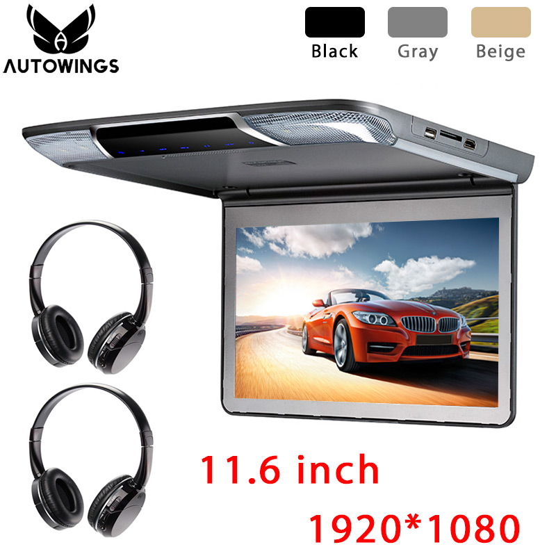 11.6 inch 1920*1080 TFT LCD Roof Mount Monitor Car Overhead Ceiling Monitor Video Player Screen FM HDMI USB SD IR Headphones