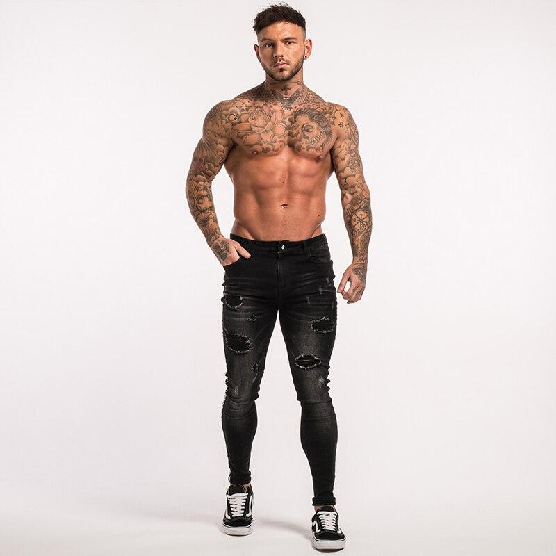 gingtto-mens-skinny-jeans-black-stripe-super-spray-on-zm23-7